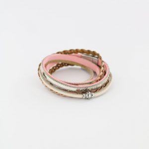 ZILLA-armband-leer-met-dierenprint-combi-roze