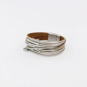 Zilla-armband-leer-met-metalen-buisjes-grijs