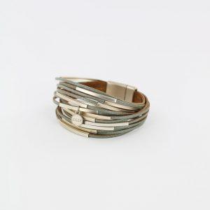 Zilla-armband-leer-met-metalen-buisjes-groen